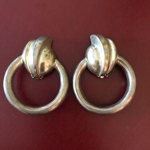 Vintage deco sterling door knocker clip on earring